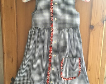 Girl's Repurposed/Upcyled dress from a men's shirt Vintage trim OOAK Size 4
