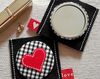 Gingham Heart Compact Pocket Mirror and Pouch in Gingham with Heart Applique-Free P+P