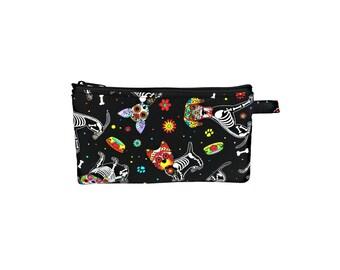 Day of the Dead Pups Pencil Pouch // Money Bag // Organizer // Travel Bag // School Supplies Bag // Sugar Skulls // Dia De Los Muertos