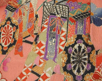 81: girl's kimono/rayon fabric/colorful/ume/ox carriage/pink/red/flower/handmade/material/white/gold