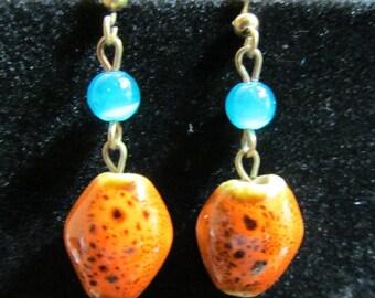 Vintage pierced earrings, blue/orange/brown earrings, pierced earrings, vintage earrings, bead earrings, earrings, dangle earrings, drop ear