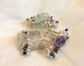 Amethyst comb, Fluorite comb, Smoky Quartz comb, Wire wrapped raw gemstone comb, Pearl Braided Comb, Sterling silver filled comb, Hair gem