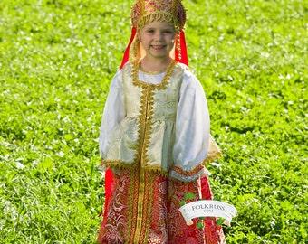 Ruso eslavo tradicional vestido Sudarinya para niñas, indumentaria escénica, vestido popular, vestido de brocado