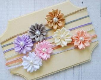 Baby headband Set of 7, small flower headbands, infant headband, infant gift set, small bows, newborn headband set