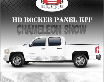 "Chameleon Hex  Snow Camo Rocker Panel Graphic Decal Wrap Truck SUV - 12"" x 24FT"