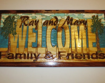 24x12 Custom WELCOME sign with names carved wood beach decor 5th anniversary gift palm trees tropical island wall decor housewarming
