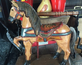1800's horse on wood stand with metal wheels
