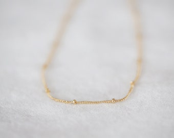 Dainty Layering Necklace - Petite Gold layering necklace - Bridesmaid Necklace - Wedding Gift - gold bead necklace - Gift for Wife - For Her