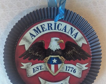 Americana Vintage Pie Tin, Decorative Pie Tin, 1776, Independence Day, Fourth of July, July 4th Decor, Red White and blue, Folk Art, Rustic