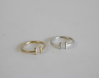 T Bar RIng. Double Bar Ring. Minimalist Ring. Simple Ring. Sterling Silver. Gold.