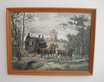 Stagecoach, Paint-By-Number, Wood Framed, Wall Hanging, Vintage, Mid Century