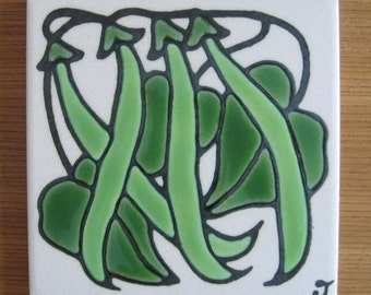 Green Beans Tile, Wall Hanging, Designs in Glaze, Handcrafted by Jane Tallman, Tallahassee, FL
