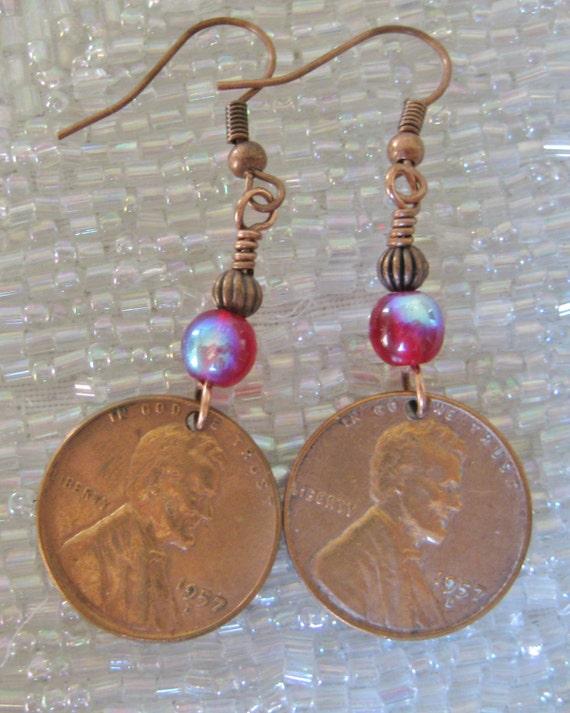 1957 Lincoln Penny Earrings
