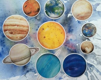 Vinyl Planet Stickers • Pack of 10 • Waterproof • Solar System • Space • Watercolour