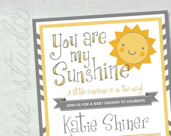 You are my Sunshine Baby Shower Invite CUSTOM DIY PRINTABLE