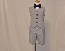 Medium Grey Boys Suit | Grey Boys Vest and Short Suit | Grey Boys Vest and Pants Suit | Ring Bearer Suit | Page Boy |