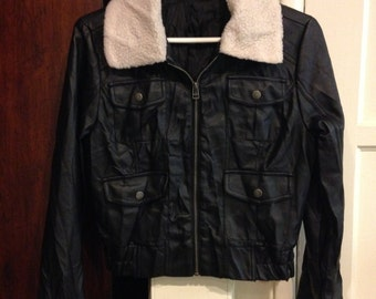 Faux fur cropped leather jacket