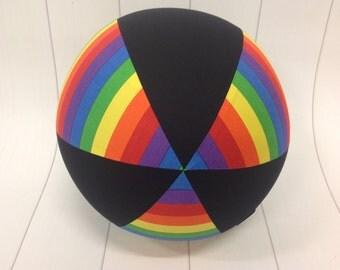 Balloon Ball Cover 30cm Round, rainbow stripes with black panels, Eumundi Kids