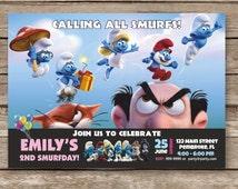 Smurfs Invitation, Smurfs Birthday Party Invites, Smurfette Invitation, Gargamel Invites