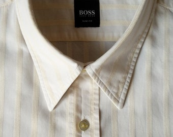Hugo Boss shirt in cream with pale yellow stripe made in Italy