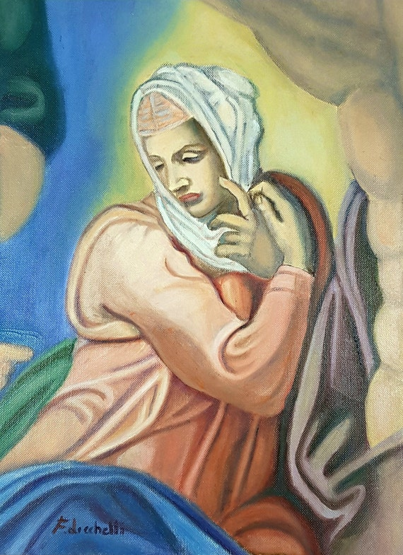 Michelangelo, oil painting, reproduction, Madonna of the Judgement, oil on canvas paper, special gift idea, birthday, italian wall art.