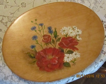 Hand Painted Bentwood Oval Box, 17 inches long, Red Roses, Blue Batchelor Buttons & Daisies