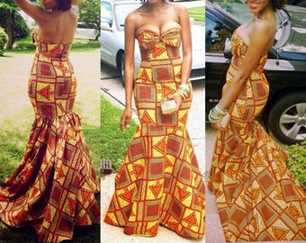 Ankara Strapless Maxi Dress