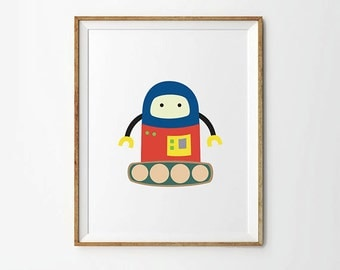 Robot print, 5 x 7 in, 8 x 10 in, Blue, Yellow & Red, Baby boy Poster, Nursery Art Print, Robot Decor, Kids Wall Art, Nursery Printables