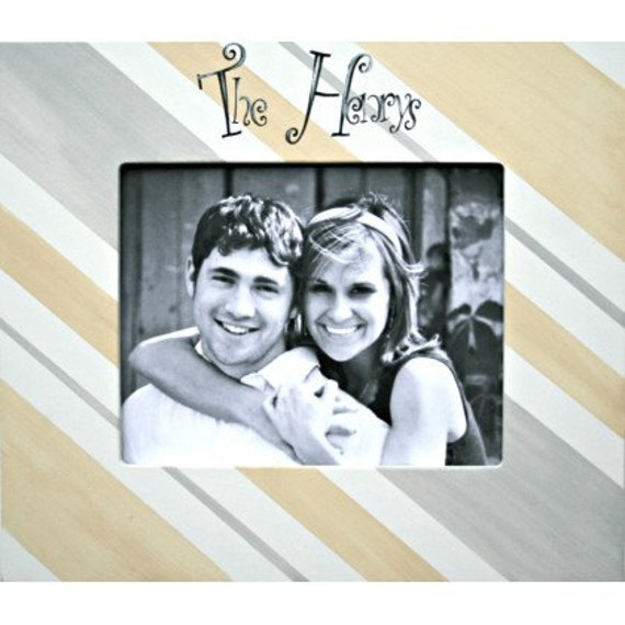 Personalized Wedding Couple Picture Frame 8x10 in Diagonal Stripes ...