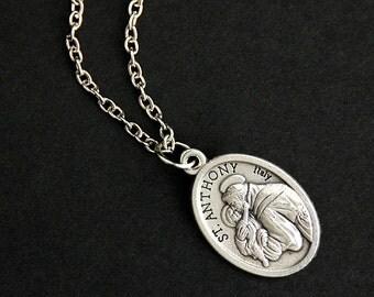 Saint Anthony Necklace. Catholic Necklace. St Anthony Medal Necklace. Patron Saint Necklace. Christian Jewelry. Religious Necklace.