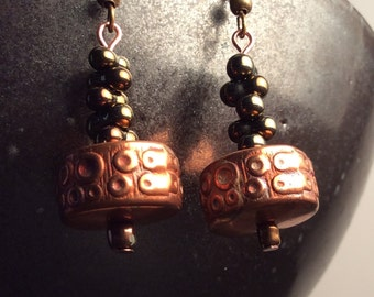 coppery earrings - free shipping