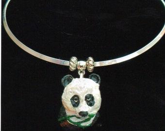 28/F     Panda on Silver Choker Necklace