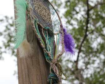 Colorful Handmade Boho Dreamcatcher with Amethyst