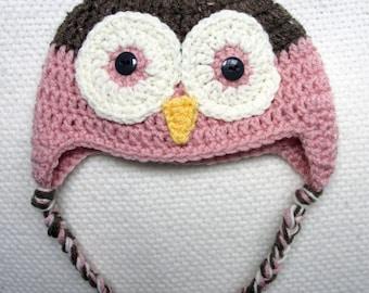 Crochet Owl Hat, baby hat, owl baby shower, crochet hat for kids, owl crochet, baby girl, baby boy, newborn hat, crocheted hats for children