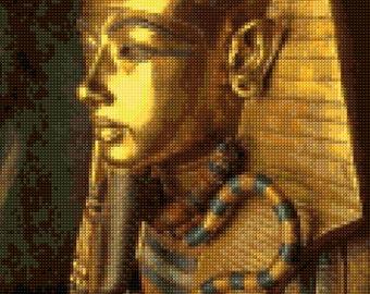 King Tutankhamun Sarcophagus Cross Stitch pattern - King Tut PDF - Instant Download!