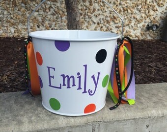 Halloween Bucket-Personalized trick or treat pail-candy pail- name bucket- candy bucket- girl's trick or treat basket- candy treat