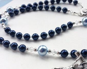 Baptism Gift for Boy, Blue Swarovski Rosary, Keepsake First Communion Gift, Baby Boy Rosary, Personalized Custom Rosary