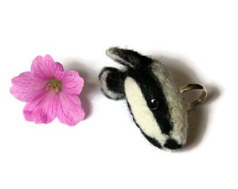 Needle Felted Badger Ring, Needle Felted, Silver Plated Animal Ring, Badger Jewellery, Animal Ring, Badger Ring, Animal Jewellery, Gift