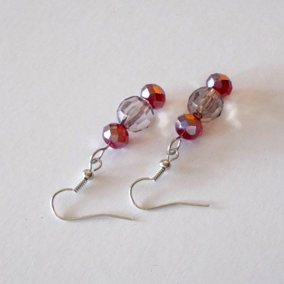 Purple And Red Earrings, Purple Bead Earrings, Red Bead Earrings, Color Earrings, Shinny Earrings, Purple Earrings, Red Earrings, Earrings