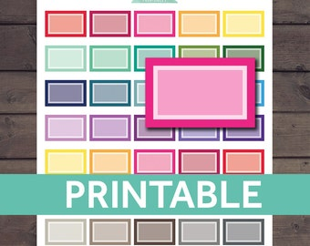 Half Box Stickers, Erin Condren Planner Stickers, Half Box Planner Stickers, Printable Agenda Stickers, ECLP