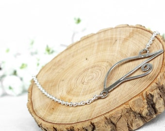 Hand made feather solid silver bracelet - Bracelet design silver solid thin pen Silver 925