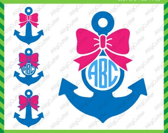 Anchor With Bow Monogram Frame SVG DXF PNG eps Nautical Cut Files for Cricut Design, Silhouette studio, Sure Cuts A Lot, Makes the Cut