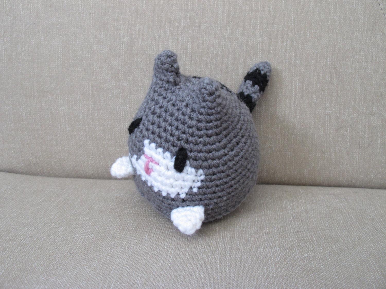 Crochet Stuffed Grey Tabby Cat: Methodius the amigurumi cat