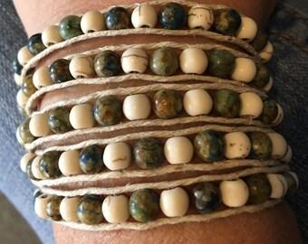 5 wrap Green earthtone and ivory stone bracelet