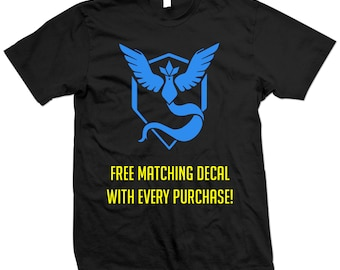 Pokemon Go Team Mystic T-Shirt - Pokémon Go - Articuno - Blue Team - Free Matching Decal With Every Purchase!