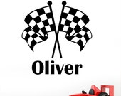 Personalised Grand Prix Chequered Flags Racing Car Boys Name Sport Wall Sticker - Childrens Art Vinyl Decal Transfer - by Rubybloom Designs