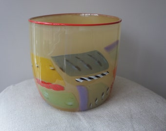 Blown Glass Bowl with Colorful Patches and Orange Trim