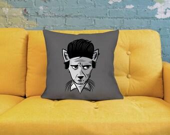 Cat Pillow - Johnny Cash Pillow - Retro Pillow - Cartoon Pillow - Cat Throw Pillow - Cute Throw Pillow - Quirky Pillow - Grey Pillow - Cat