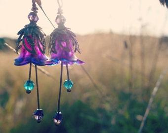 Amethyst Earrings - Flower Earrings - Purple and Teal - Floral Earrings - Dangle Drop Earrings - Bronze Earrings - Purple Wedding - Flower.