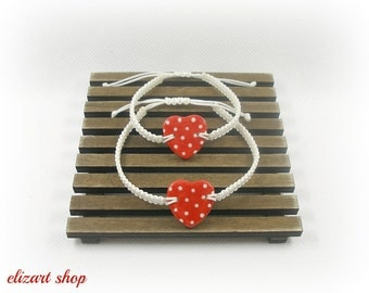 "Set of two ""red ceramic heart"" bracelet, mother and daughter bracelet set, matching bracelets, mommy and me bracelet set, mother and child."